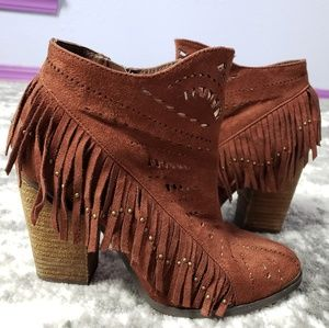 Not Rated Fringe Cut Outs Vegan Suede Metal Detail
